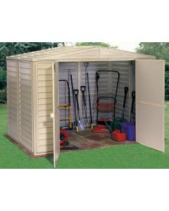 Duramax Duramate 8x6 Vinyl Storage Shed ( with foundation floor kit )