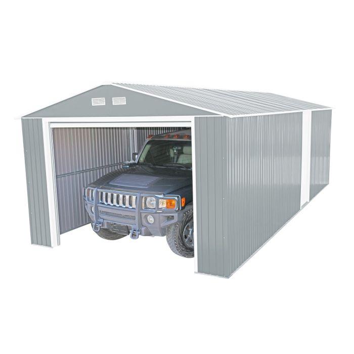 duramax 12x20 light grey metal garage